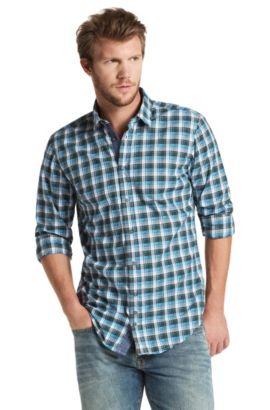Slim-Fit Freizeit-Hemd ´CliffE` mit Karomuster, Dunkelgrün
