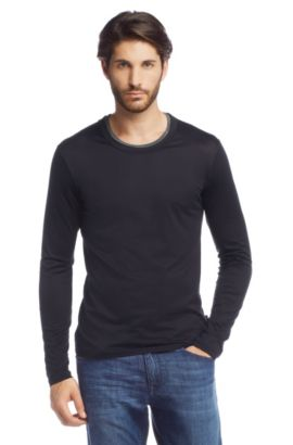T-shirt à manches longues en coton, Sorso 02, Bleu foncé