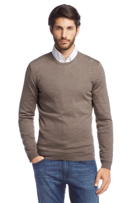 New wool sweater 'Baker-B', Brown