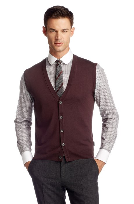 Knit waistcoat 'Medrick' in merino wool, Dark Red