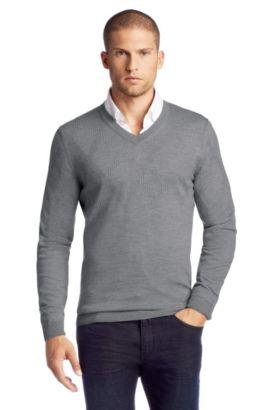 Pullover ´Miles` aus Schurwolle, Grau