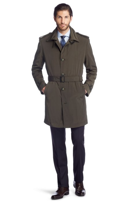 Trench coat with warm lining 'The Trace', Dark Brown