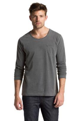 T-shirt manches longues à encolure ronde, Tawney, Noir