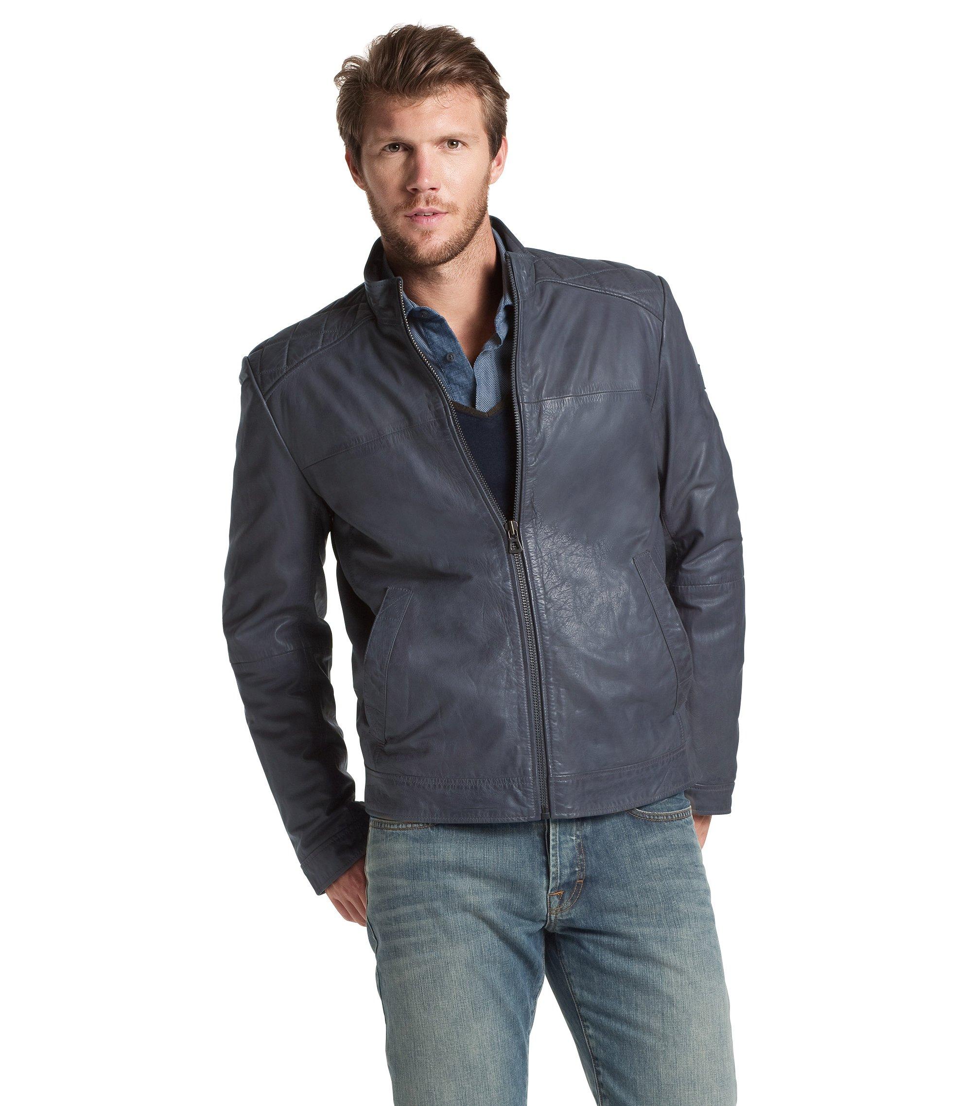 Calfskin leather jacket 'Jokar', Dark Grey