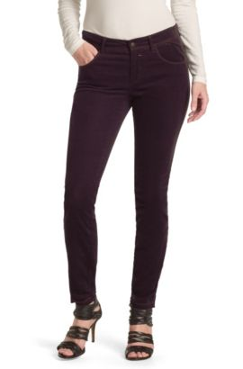 Slim fit corduroy broek ´Samiria-W`, Donkerrood
