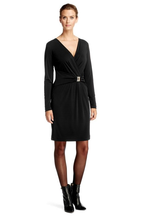 Jersey dress with an attached, fabric belt 'E487, Black
