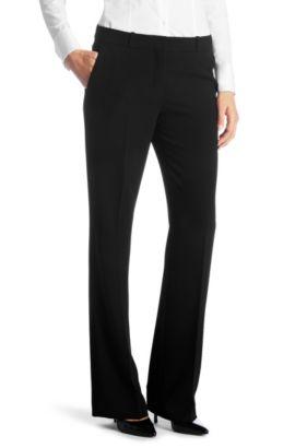 Pantalon Regular Fit à plis de repassage, Tulira, Noir