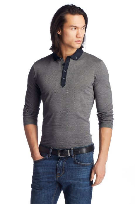 Slim fit cotton long sleeve polo shirt 'Sedilo 06', Grey