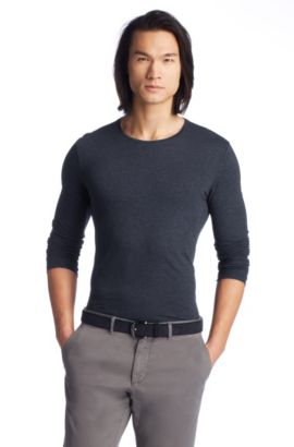 Slim-Fit Longsleeve ´Leo 22` in Jersey-Qualität, Dunkelblau
