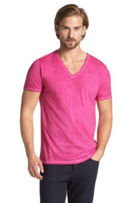 T-shirt ´Toulouse` met V-hals, van BOSS Orange, Donkerroze