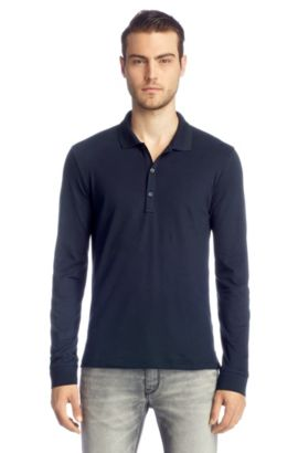 Regular-Fit Longsleeve-Polo ´Nolon`, Dunkelblau