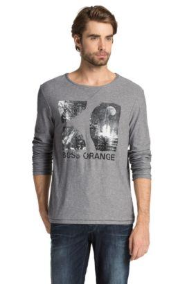 T-shirt manches longues à encolure ronde, Tive, Gris chiné