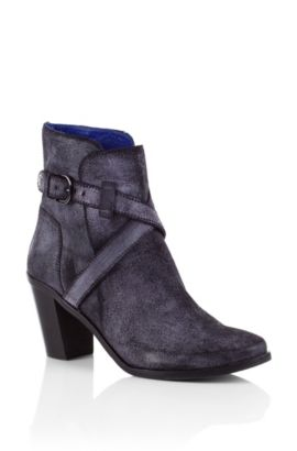 Ankle boot 'Briana' in suede by BOSS Orange, Black