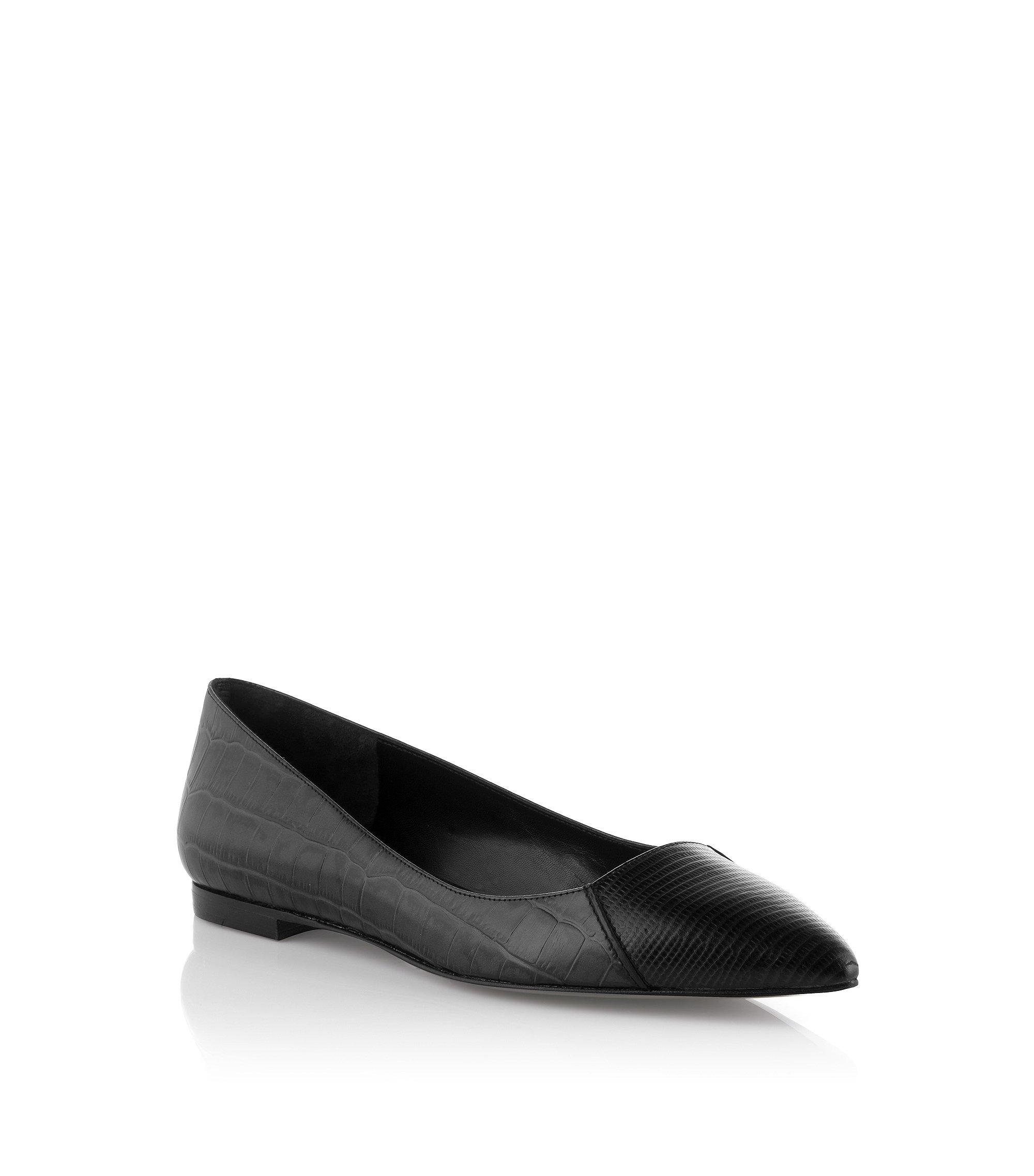 Crocodile embossed leather ballerina 'Crela', Black