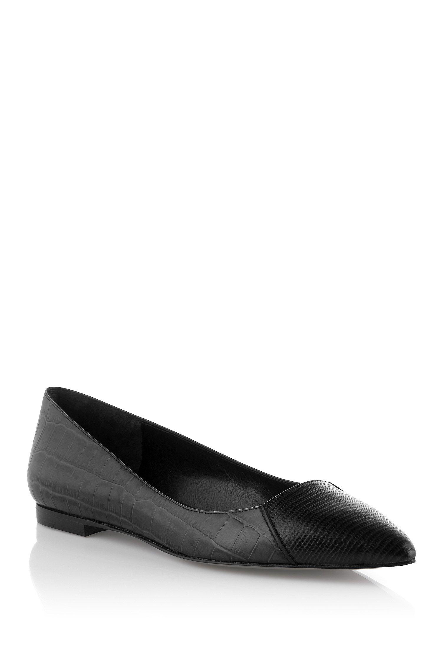 Ballerina ´Crela` aus Leder mit Kroko-Prägung