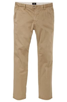 Slim fit casual trousers 'Rice-1-D modern essential', Beige
