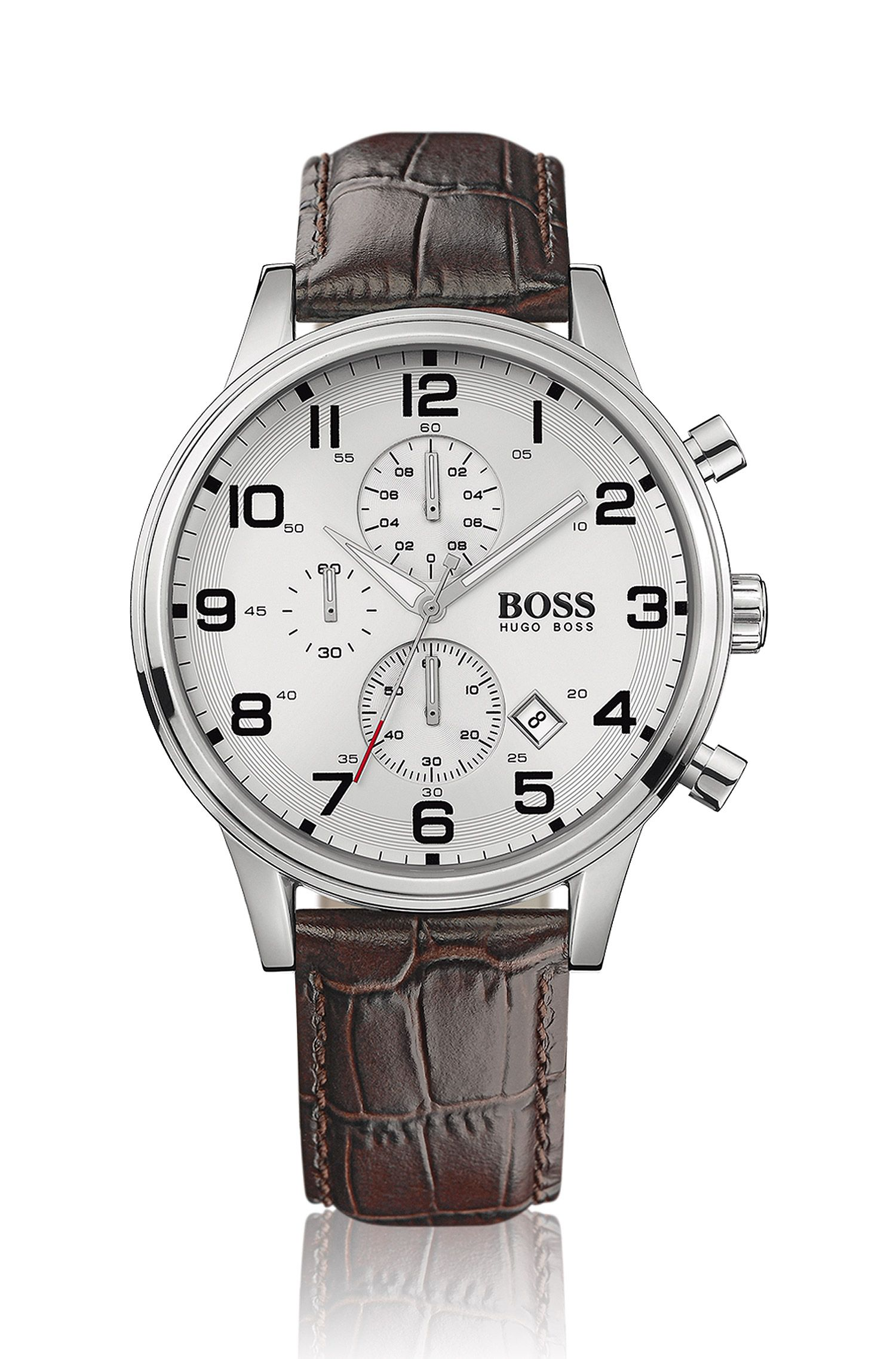 Stainless-steel two-eye flyback chronograph watch with silver dial