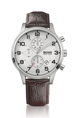 Stainless-steel two-eye flyback chronograph watch with silver dial, Brown