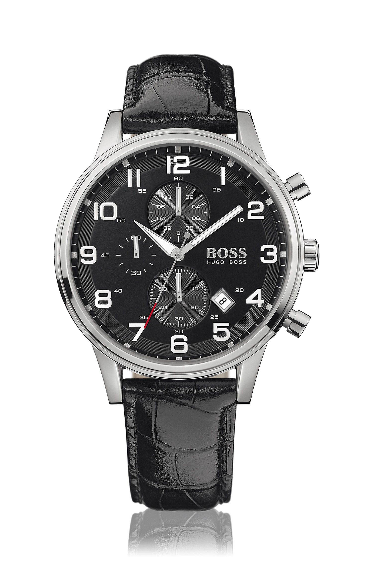 Stainless-steel two-eye flyback chronograph watch with black dial