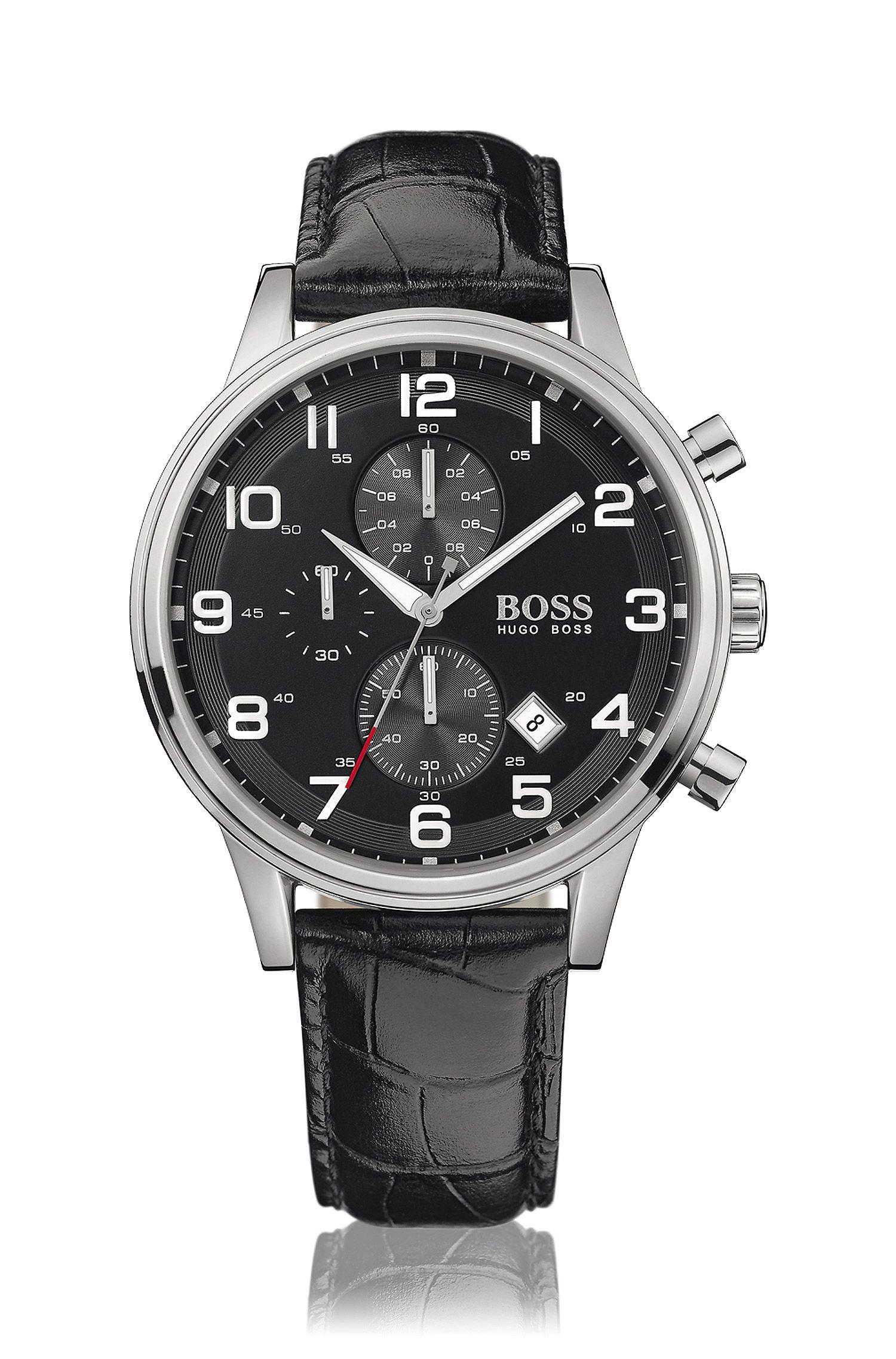 Montre chronographe flyback à deux sous-cadrans, en acier inoxydable avec un cadran noir