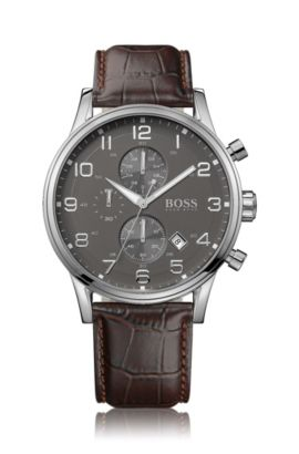 Chronograph 'HB2006' with a leather strap, Brown