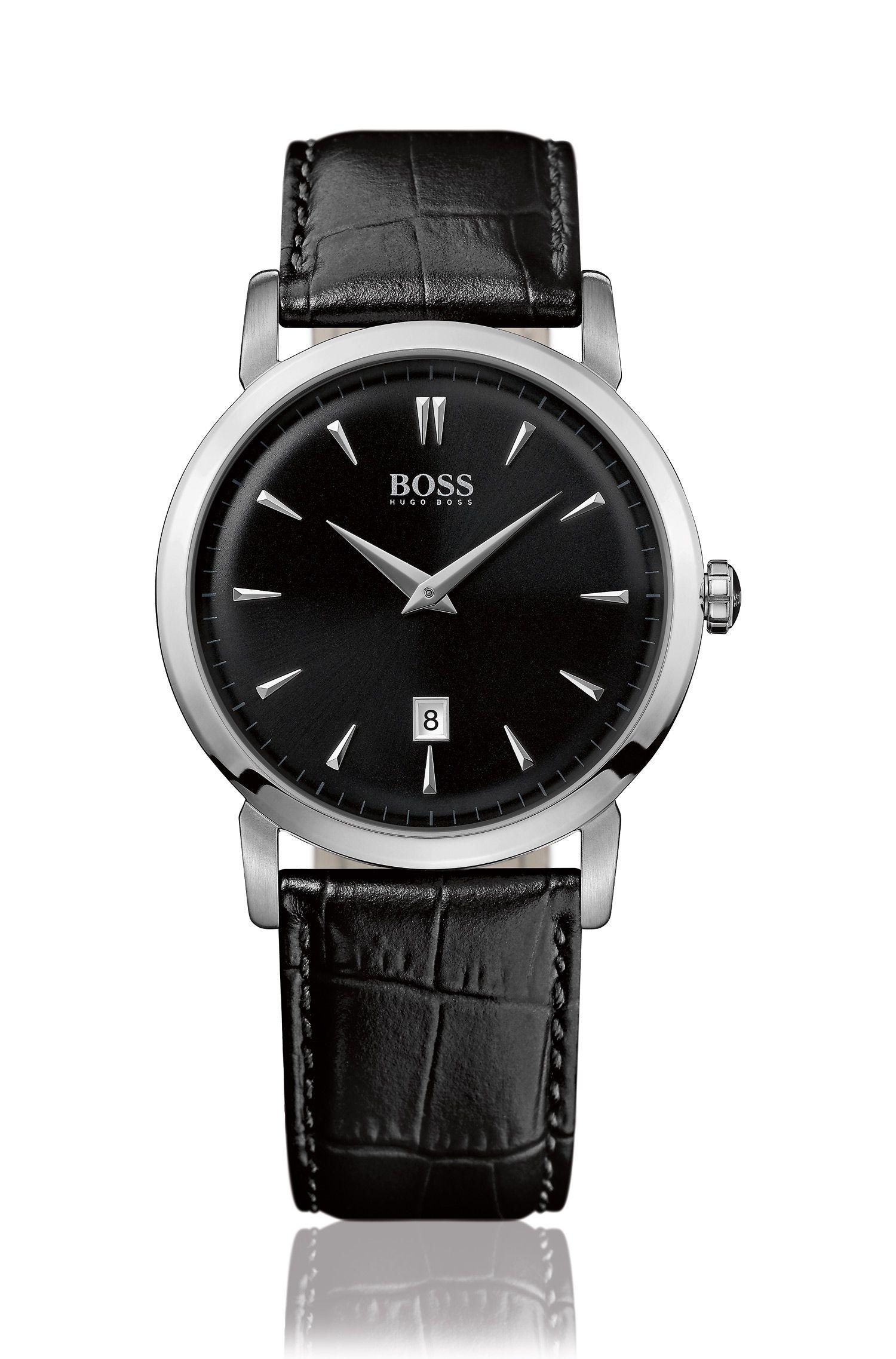 Zwei-Zeiger Uhr mit Edelstahlgehäuse und Leder-Armband: 'HB1013'