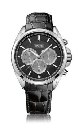 Chronographe «HB301» avec bracelet en cuir, Noir
