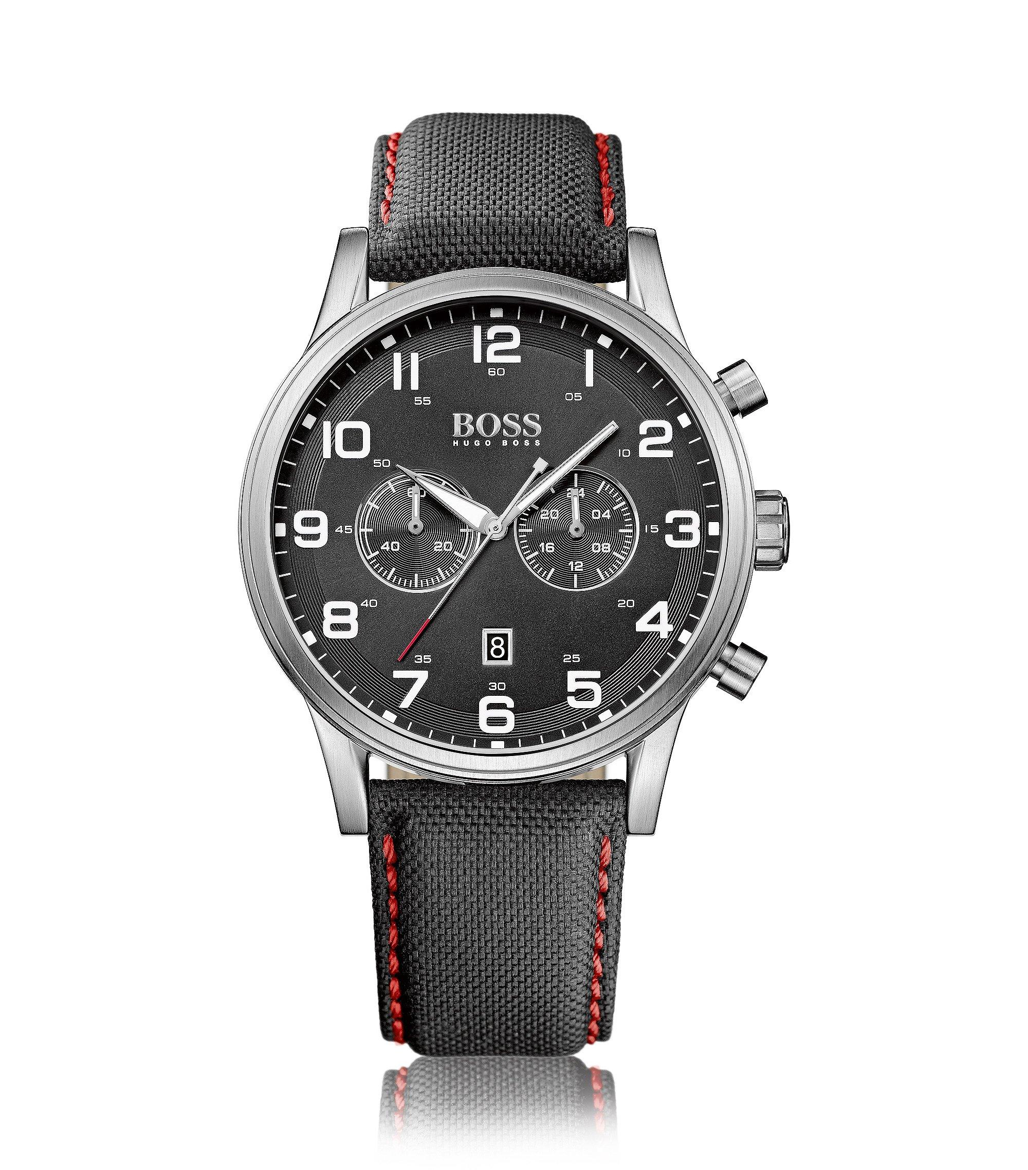 Montre chronographe flyback à deux sous-cadrans en acier inoxydable brossé, avec bracelet en tissu, Noir