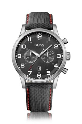 Brushed stainless-steel two-eye flyback chronograph watch with fabric strap, Black