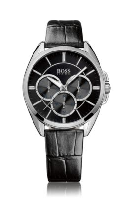 Wrist watch 'HB6037' with a leather strap, Assorted-Pre-Pack