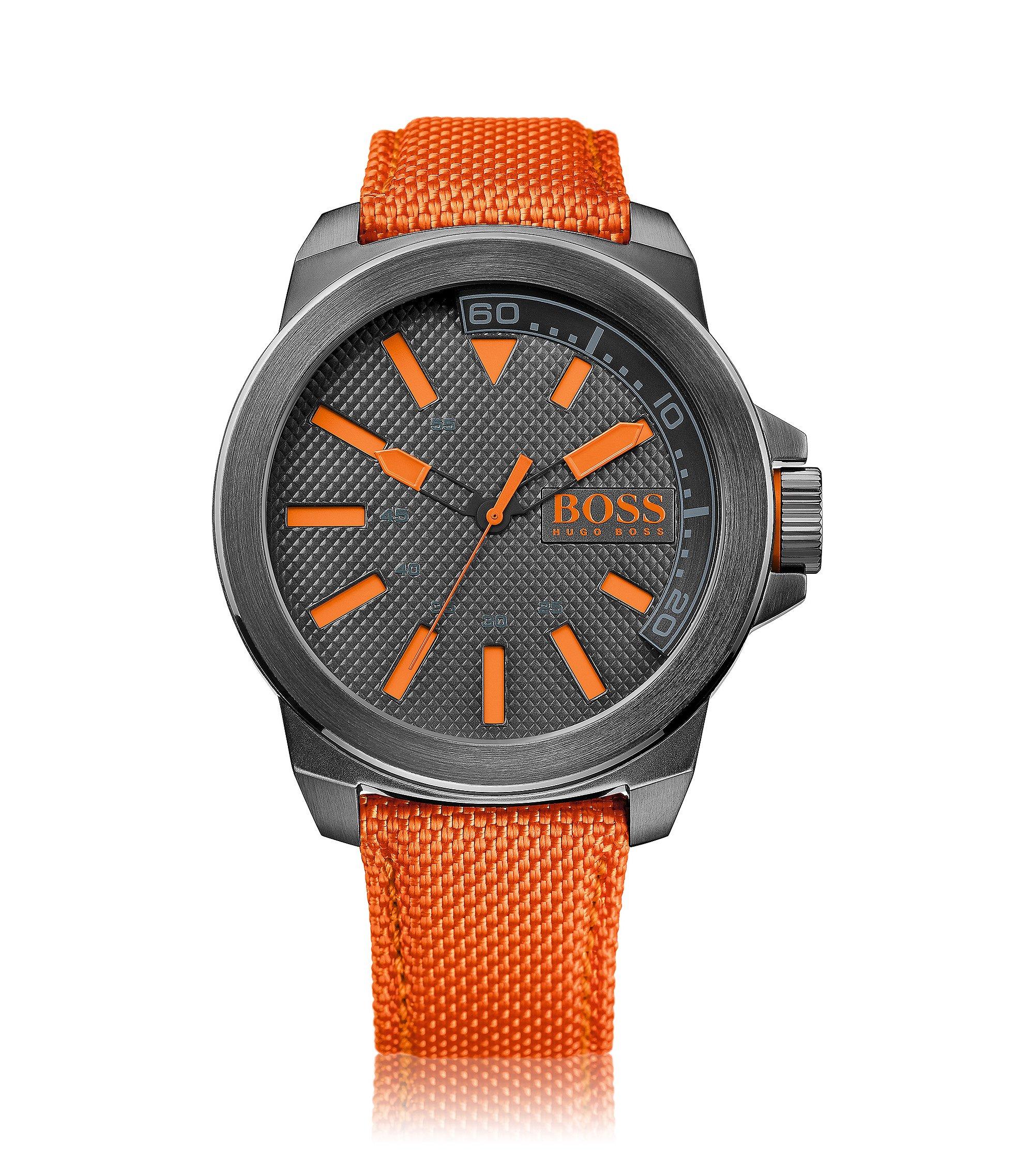 Uhr aus Edelstahl mit drei Zeigern und Textilarmband, Orange