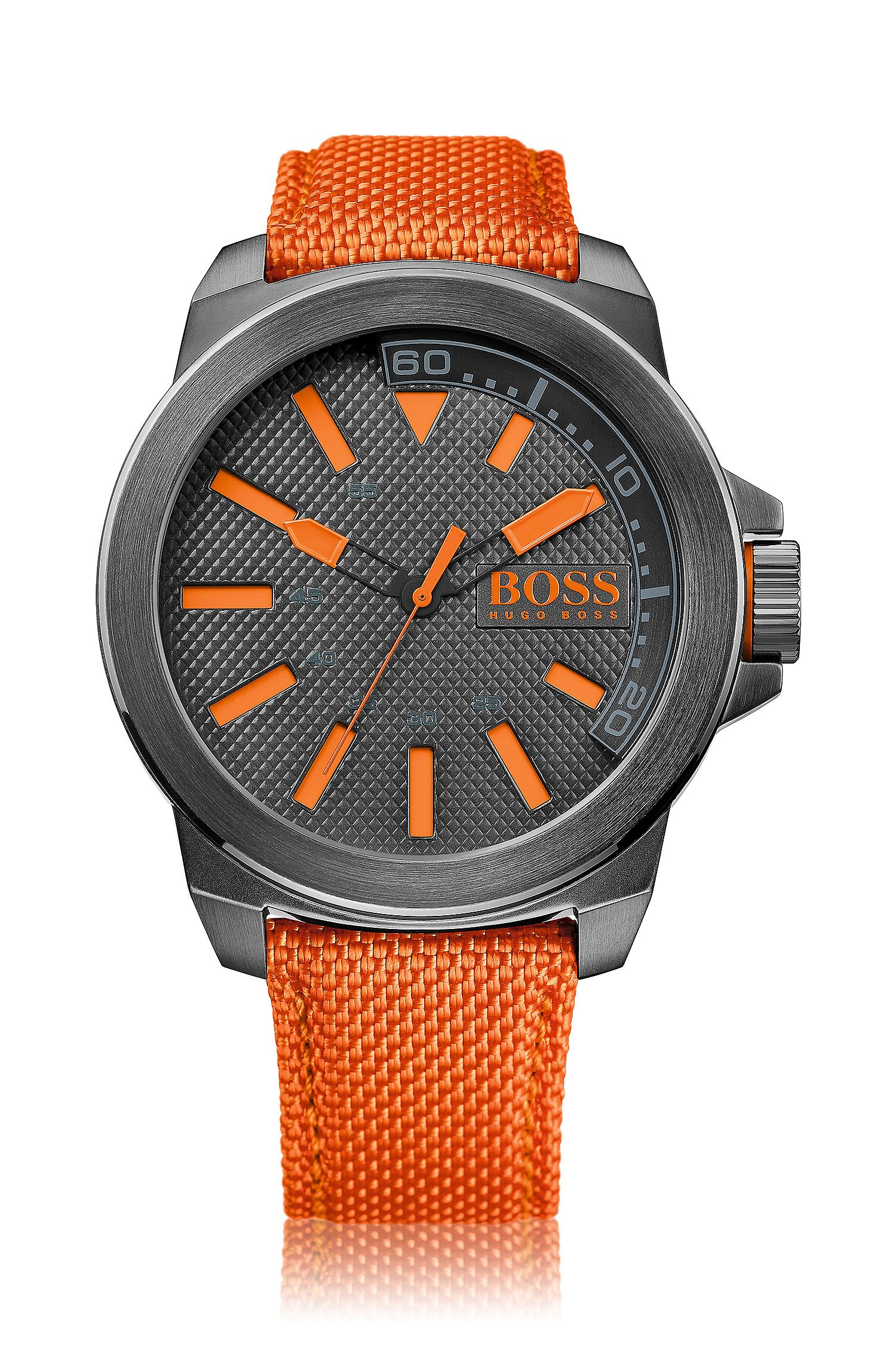 Dark-grey stainless-steel three-hand watch with orange accents and fabric strap