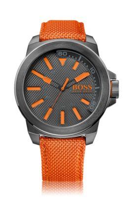 Orologio a tre lancette in acciaio inox grigio scuro con cinturino in tessuto e dettagli arancioni, Arancione