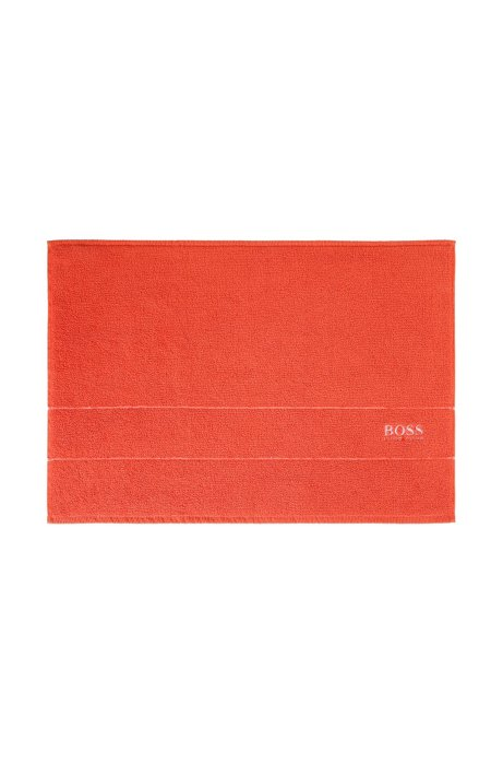 Finest Egyptian cotton bath mat with logo border, Orange