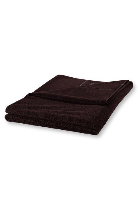 Finest Egyptian cotton bath sheet with logo border, Dark Brown