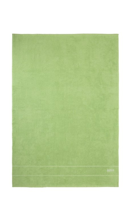 Finest Egyptian cotton bath sheet with logo border, Green