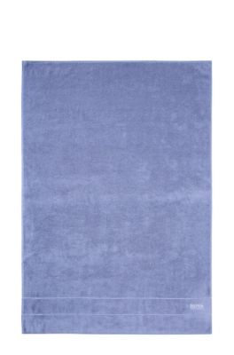 Finest Egyptian cotton bath sheet with logo border, Blue
