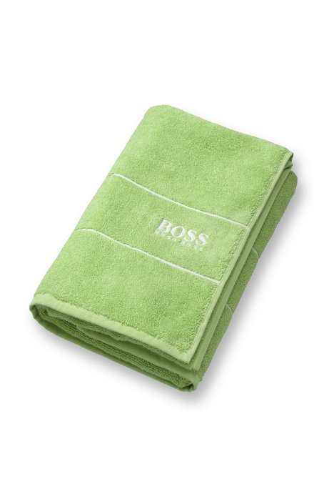Finest Egyptian cotton bath towel with logo border, Green
