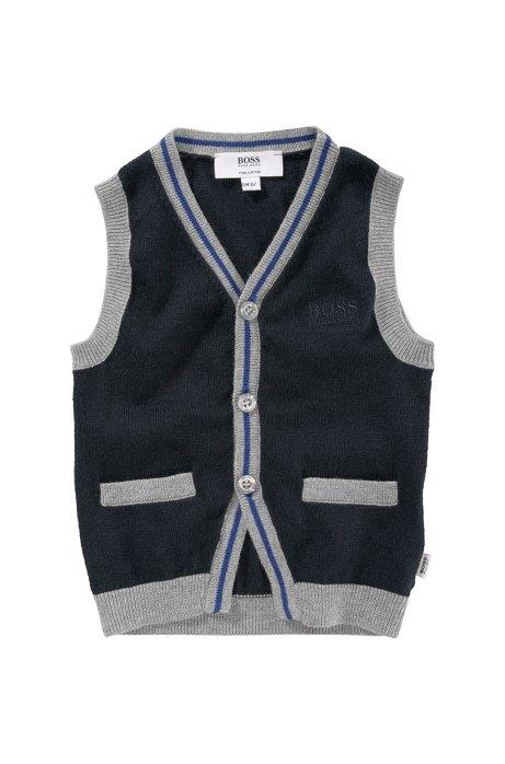 Kids' waistcoat 'J05238/862' in fine knit cotton, Dark Blue