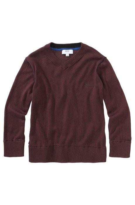 Kids' sweater 'J25549/958' in pima cotton, Dark Red