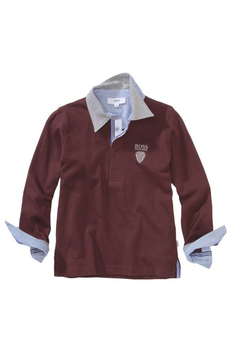 Kids' long-sleeve polo shirt 'J25569/958' in cotton, Dark Red