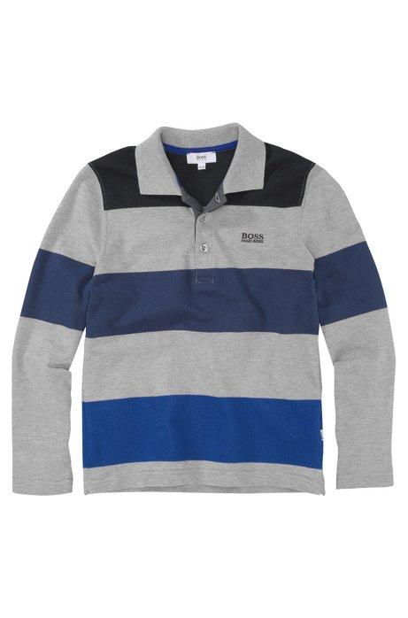 Kids' long-sleeve polo shirt 'J25574/A30' in piqué, Grey
