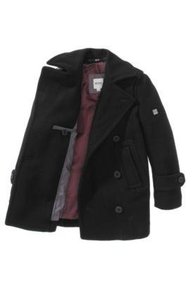 Manteau pour enfant «J26174/09B» en laine mélangée, Noir