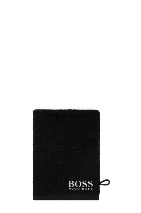Finest Egyptian cotton washing mitt with contrast logo embroidery, Dark Brown