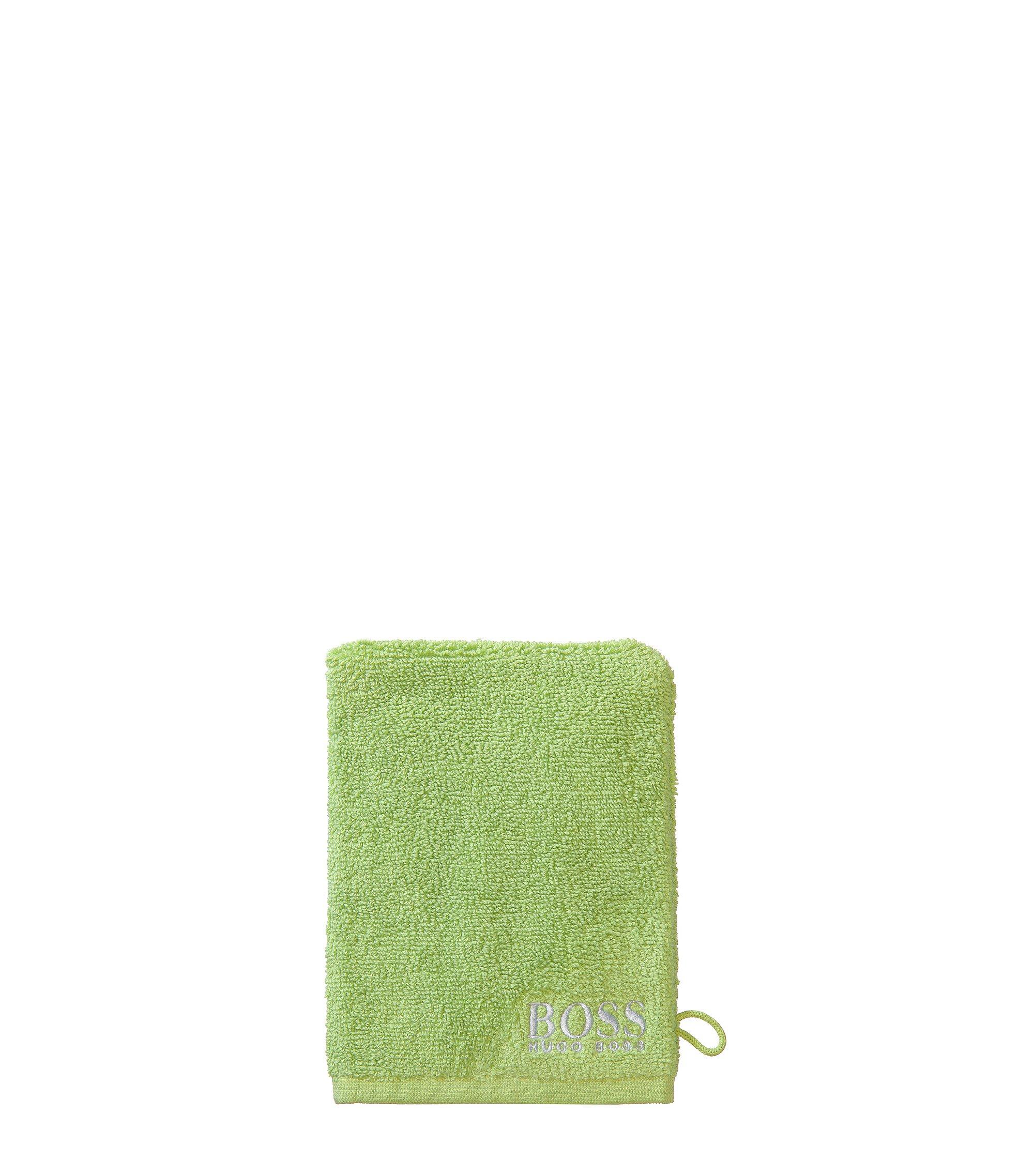 Manopola da bagno in raffinato cotone egiziano con logo ricamato a contrasto, Verde