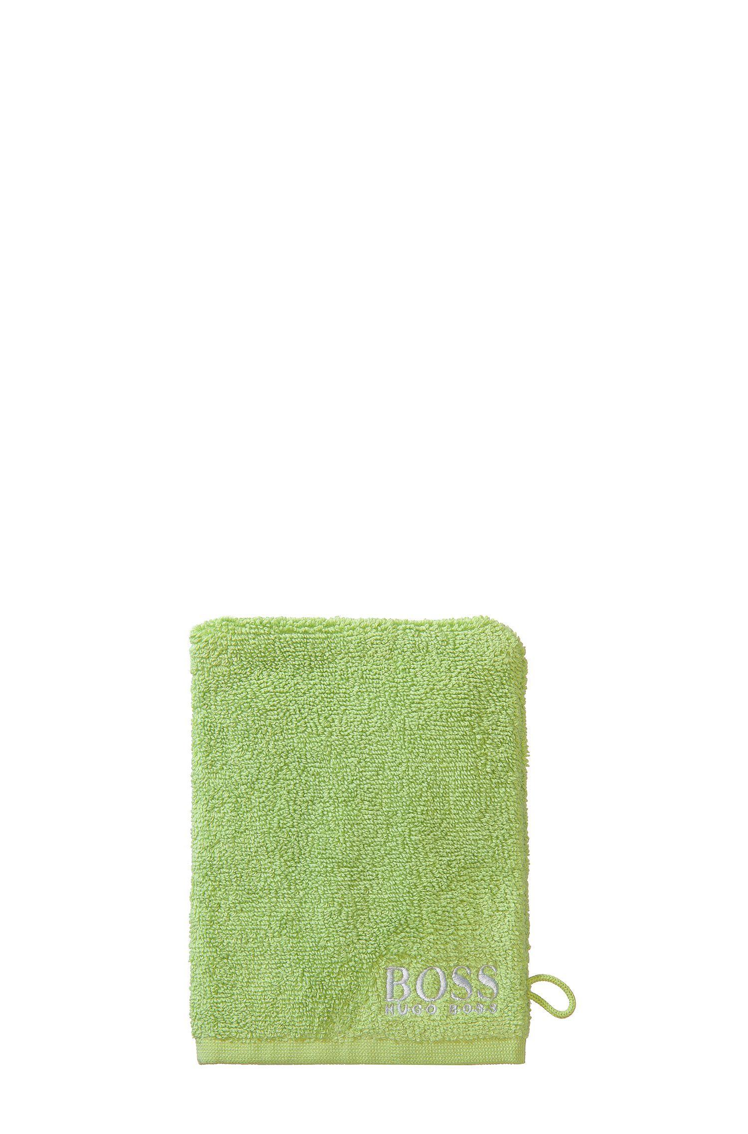Manopola da bagno in raffinato cotone egiziano con logo ricamato a contrasto