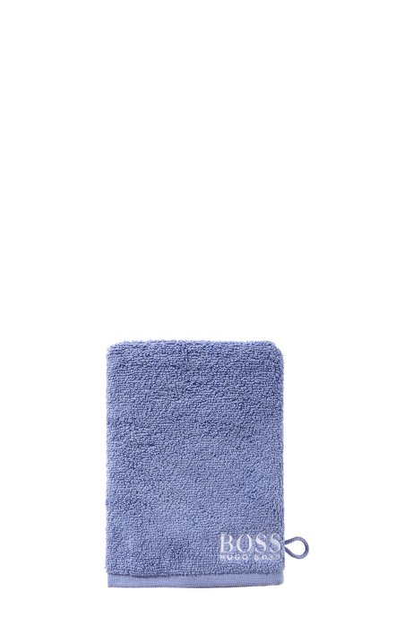 Finest Egyptian cotton washing mitt with contrast logo embroidery, Blue