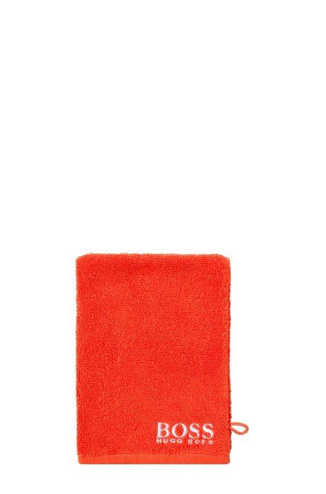 Finest Egyptian cotton washing mitt with contrast logo embroidery, Orange