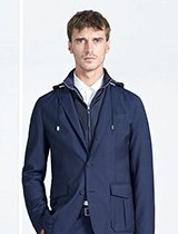 Navy coat and white shirt by BOSS