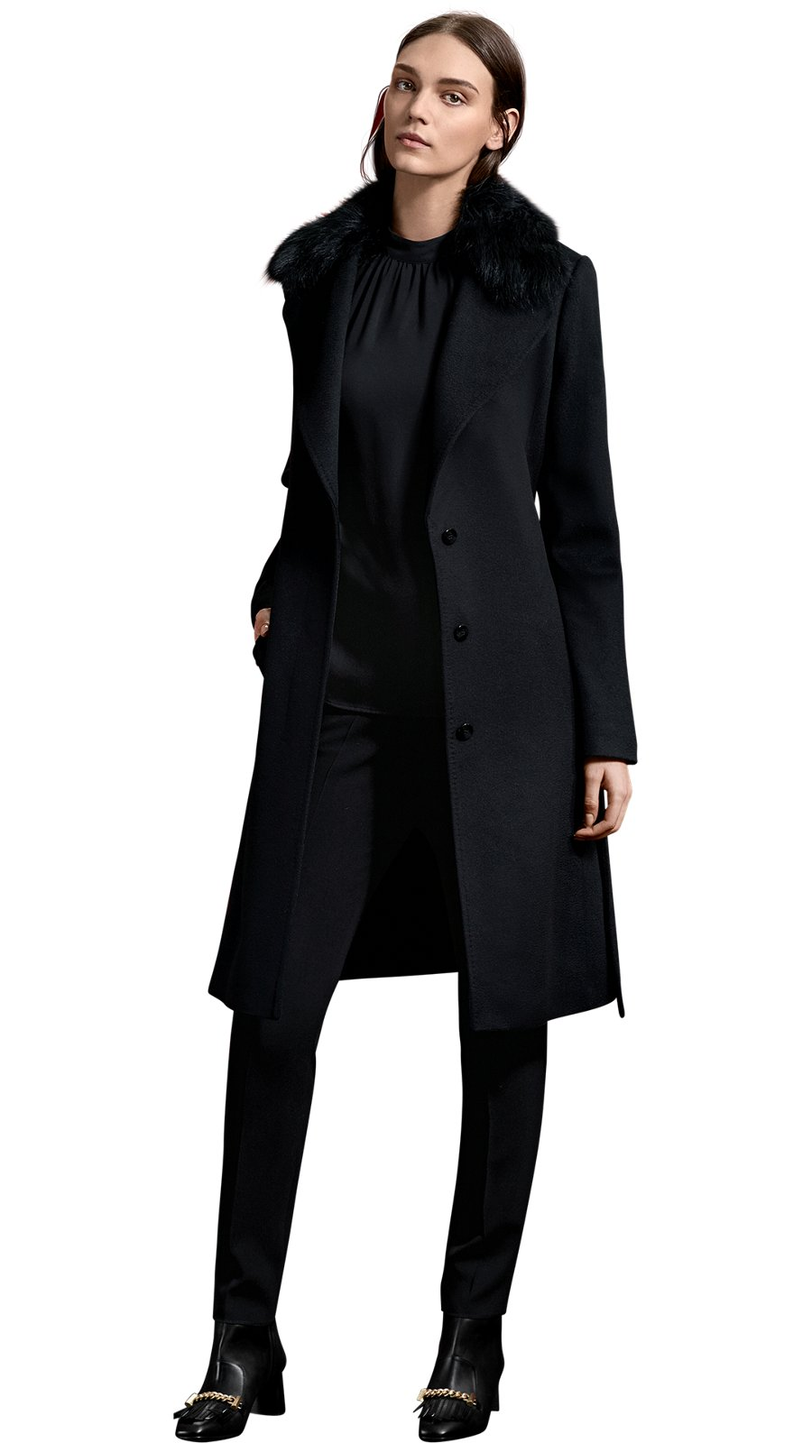 Women wearing wedding diapers - Female Model Wearing A Black Coat A Black Blouse Tailored Trousers And Heeled Boots